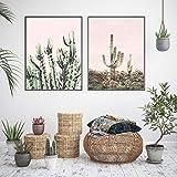 Swallow Paysage scandinave Toile Mur Art Affiche Style Nordique Rose Cactus Désert Imprimer Peinture Nature Plante Décoration Photos-40x60cmx2 pcs sans Cadre