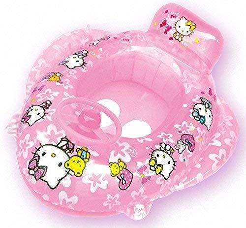 Hello Kitty Boot mit Lenkrad zum aufpusten für den Strand, Pool, Schwimmbad, für Urlaub und Sommer, Wasserspielzeug Schwimmhilfe Schwimmsitz Kinder Spielzeug Schwimmring Schwimmreifen Baby