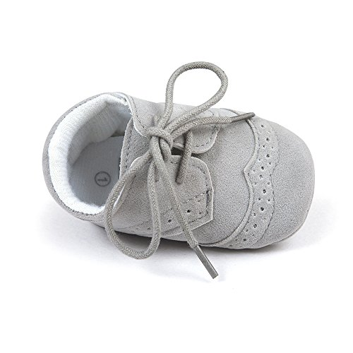 Matt Keely Bebé Niños niñas Suela Blanda Zapatos Bebe niña Infantil Zapatos con Cordones Gris 6-12...