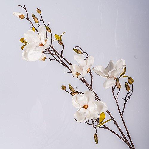 Set 2 x Kunstblume Magnolienzweig LILO, 4 Blüten, Knospen, creme - weiß, 110 cm - 2 Stück Seidenblumen Magnolie / Kunstzweig - artplants