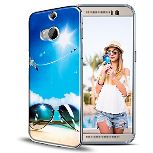 Case Kompatibel mit HTC One M8, Rückschale mit Motiven Silikon TPU Backcover für One M8 Bumper Motiv Sommer ()