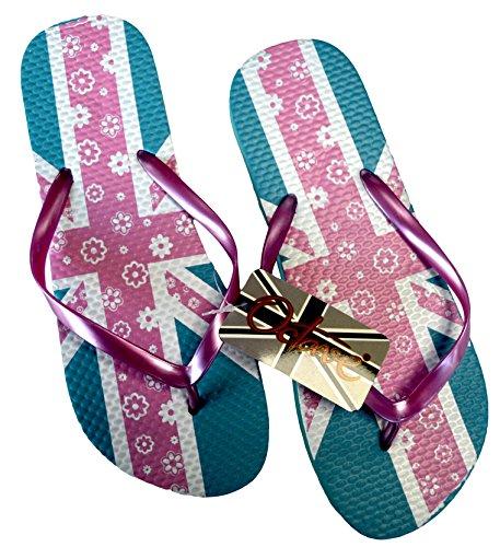 Octave , Tongs pour femme Multicolore - Union Jack With Floral Design - Pink / Blue