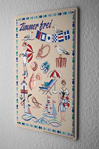 Lindner Design Blechschild Küchen Deko Ostsee Muscheln Metall Wand Schild 20x30 cm