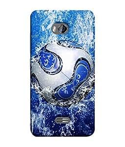 PrintVisa Designer Back Case Cover for Micromax Bolt Q336 (Blue And White Football )