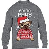 Kids Santa Paws Pfoten - Mops Weihnachtspullover Kinder Pullover Sweatshirt XL 152/164 Grau
