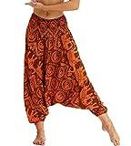 Nuofengkudu Damen Hosen Boho Muster High Waist Hippie Yogahosen Haremshose Thaihose Aladinhose Strandmode Leicht Sommerhose Orange Elefant
