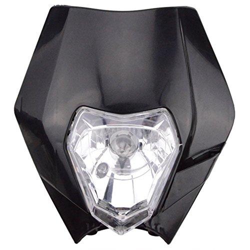 GOOFIT schwarz 12V 35W Scheinwerfer Frontscheinwerfer Lichtmaske mit Front Verkleidung für Motorrad Dirt Bike Motocross Schwarz dit pocket bike