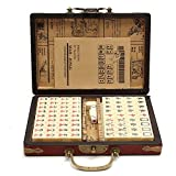 Samber Mah Jongg, Reisen Mahjong Strategiespiel mit Arabischen Zeichen und Tragbar Archaistischen Leder Box