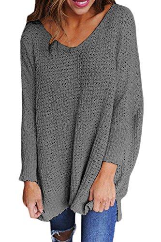 Un Pull Baggy V Au Cou Des Femmes Se Tricoter Cardigan Pulls Maxi Grey