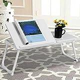 BAKAJI Tavolino Vassoio da Letto Divano per Notebook PC Laptop Pieghevole Leggio 65x30cm, Tavolino Colazione da Letto (Bianco White)