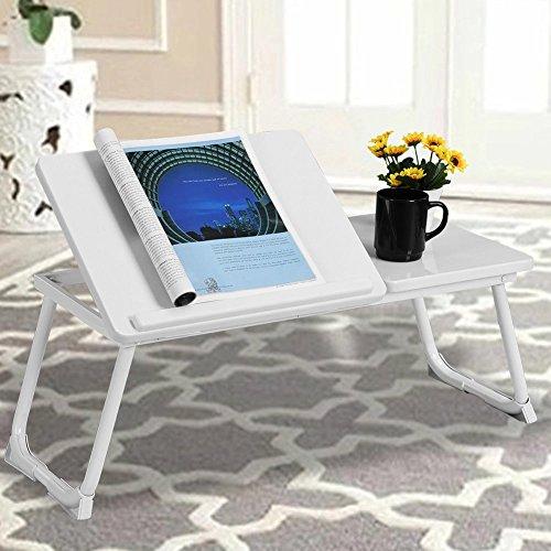 BAKAJI Tavolino Vassoio da Letto Divano per PC Laptop Notebook Pieghevole Leggio 65 x 30cm Tavolino Colazione da Letto Colore Bianco