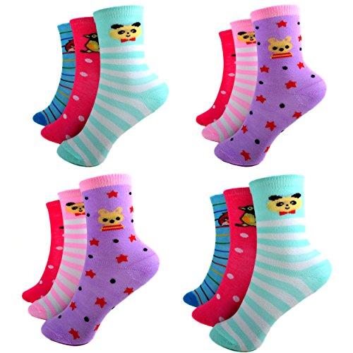 12 Paar Ladies Socks Mädchen Socken Kinder Strümpfe 90% Baumwolle A.S-100 Gr. 23-38 Verschiedene Farben und Motive (27-30)