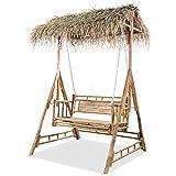 vidaXL Gartenschaukel 2-Sitzer mit Palmblättern Bambus 202cm Schaukelbank
