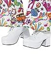 Smiffys 43074L - Herren 70er Jahre Plateau Schuhe, 7,6 cm Absatz, Größe: 45, weiß