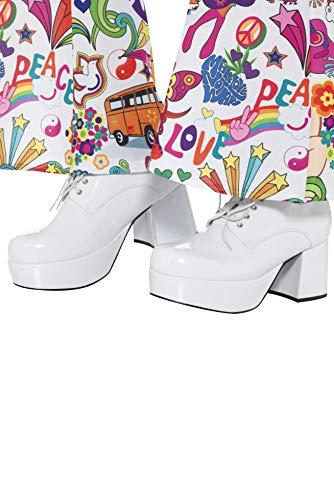 Smiffys 43074L - Herren 70er Jahre Plateau Schuhe, 7,6 cm Absatz, Größe: 45, weiß (Jahre Der 1970er Halloween-kostüme)