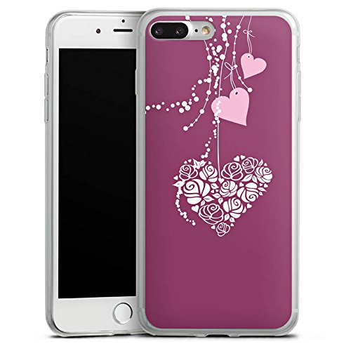 Apple iPhone X Slim Case Silikon Hülle Schutzhülle Love Muster Hängende Herzen Silikon Slim Case transparent