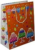 Les Couleurs de l'Emballage 20 Geschenktragetaschen mit Kordel und Glanz-Laminierung, 32 x 26 x 13 cm, geburtstagsmotiv