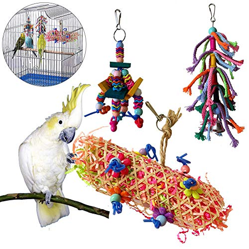 LEUM SHOP 3 Stücke Cockatiel hängen Deich Ebell Vogel Vogel Käfig Hängematte Swing Holz Biss Kauen Spielzeug Random Color