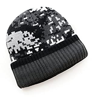 Ayouyou Herbst Winter Herren Wolle Gestrickte Skimütze Camouflage-Hut im Freien Wintersport-Hut Winter Baumwolle Hut (Dunkelgrau)