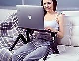 Lavolta Ergonomisch Notebook Laptop Ständer Tisch Bett Frühstück Tablett - Ausklappbare Ebenen - Aluminium - Schwarz - 5