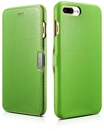 Mobiskin Tasche für Apple iPhone 8 Plus und iPhone 7 Plus (5.5 Zoll) / Case mit Echt-Leder Außenseite/Schutz-Hülle seitlich aufklappbar/Ultra-Slim Cover/dünne Klapphülle/Etui / Grün