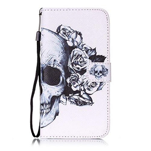 Ledowp Apple iPhone 7Plus custodia portafoglio, copertura integrale design pattern custodia in similpelle di copertura con slot per schede per iPhone 7Plus multicolore Sunset Skull #2