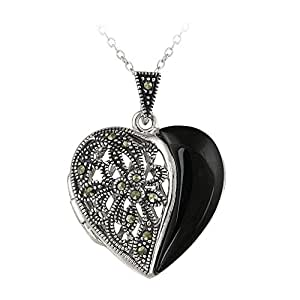 Sterling Silver Marcasite and Onyx Heart Picture Locket Necklace