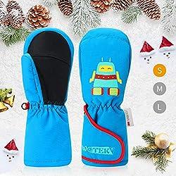 Gant Ski Enfant,Moufles des Gants Ski,Gant de Ski Hiver Enfant Imperméables+Chauds+Coupe-Vent+Antidérapants,Parfaits pour le Ski,Snowboard,Boules de Neige -pour Enfants de 2-8 ans Garçons et Filles-S