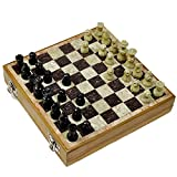 EtsiBitsi Chess Board, Handcrafted Stone Inlaid with Stone Carved Coins (8 inches)