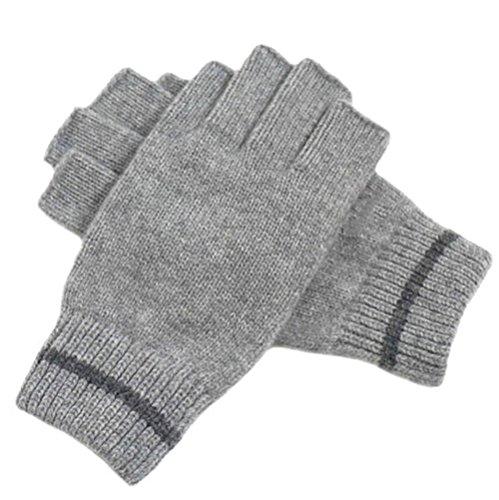 LJHA Herren Handschuhe Winter Halbfinger Warm / Reiten / Fahren / Sport / Freizeit / Herren Handschuhe Schwarz / Grau ( Farbe : Grau )