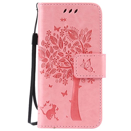 Nancen Samsung Galaxy S4 Mini / i9190 i9195 (4.3 pouces) Coque de Protection, Bonne Qualité PU Cuir Portefeuille et Card Slot Étui en Flip Cover / Anti-rayures Smart Case. Dix Solide couleurs [ Chat et Arbre Style Motif]