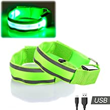 2 LED Brazaletes - Alta Visibilidad USB RECARGABLE Brillante Reflexivo Luces de Seguridad para Correr, Ciclismo, Para caminar, Trotar, Senderismo en la Noche por Runbee (Verde)