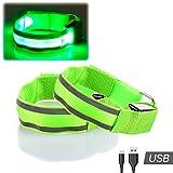 Confezione da 2 LED Armband - Alta Visibilità USB RICARICABILE Riflettenti Lampeggianti Luci di Sicurezza per Corsa, Ciclismo, Passeggiate, Jogging, Escursionismo di notte da Runbee (Verde)