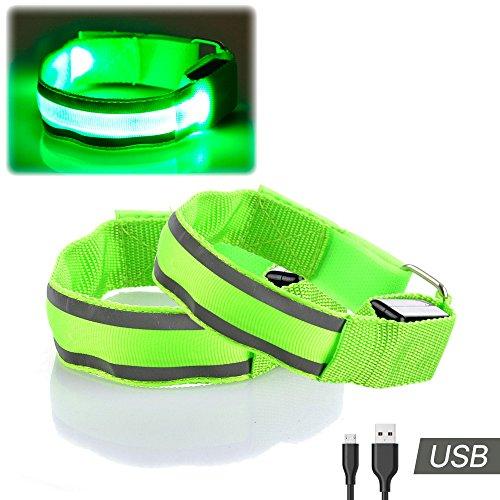 2 LED Brassards - Haute Visibilité USB Rechargeable Clignotant Lumières de Sécurité Réfléchissantes pour la Course, le Vélo, la Marche, le Jogging, la Randonnée de nuit par Runbee