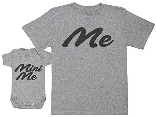 Me & Mini Me - Passende Vater Baby Geschenkset - Herren T-Shirt & Baby Strampler/Baby Body - Grau - XXL & 18-24 Monate