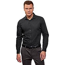 oodji Ultra Hombre Camisa Entallada a Lunares, Negro, сm 42 / ES 42 / L