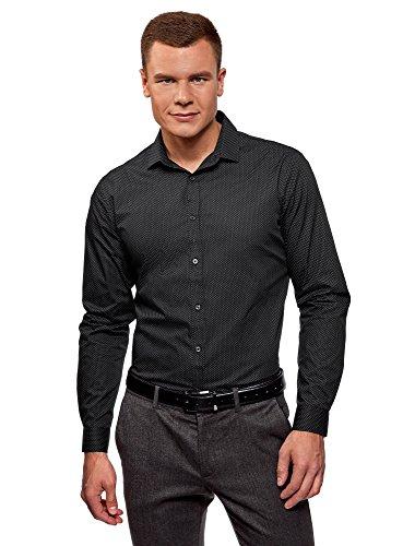 oodji Ultra Hombre Camisa Entallada a Lunares, Negro, сm 40 / ES 40 / S