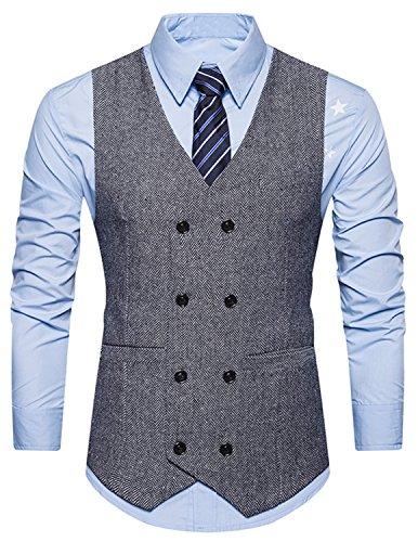 Boom Fashion Herren doppelt breasted Anzugweste Freizeit Business Casual Slim Fit Weste V-Ausschnitt Blazer Schwarz 1