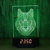 Lozse Ilusión 3D lobo cara cabecera lámpara creativo poco noche moda acrílico de la lámpara