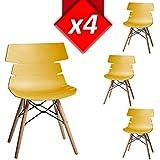 Pack 4 sillas Lisboa color Mostaza, casco PVC, patas madera estilo nórdico