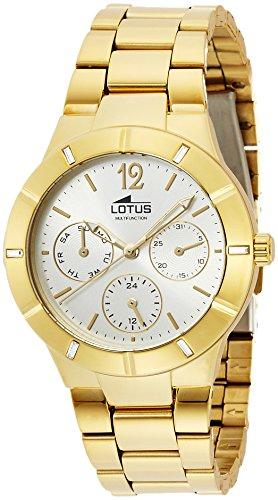 a4dceaf83b8b Lotus 0 - Reloj de cuarzo para mujer, con correa de acero inoxidable  chapado, color dorado