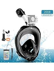 Maschera Subacquea, Maschera da Snorkeling Full Face 180 ° Vista panoramica, Snorkeling Maschera Snorkel Mask Anti-Fogging Anti-Leak per Donna Bambino Adulto, L/XL