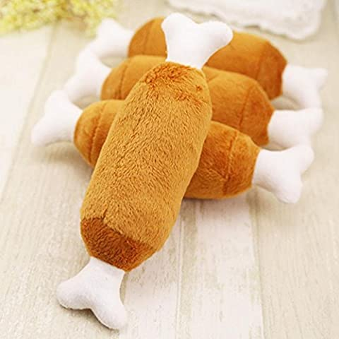 Transer® Toys for Pets- 1PC Dog Cat Chicken Legs Plush Interactive Sound Toys