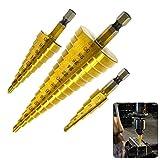 Astarye - Juego de brocas de paso de 3 piezas, 4-12/4-20/4-32mm Cono de titanio...