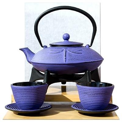 Dessous de théière Violet tasses et théière en fonte Violet/motif libellule 0,8 l