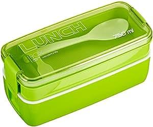 Lunchbox / Bento Box, Japanische Bento Box,MACDIAZ Microwavable Bento Lunchboxen 2 Tier Food Storage Container mit Besteck für Kinder, Lunch Container,Grün