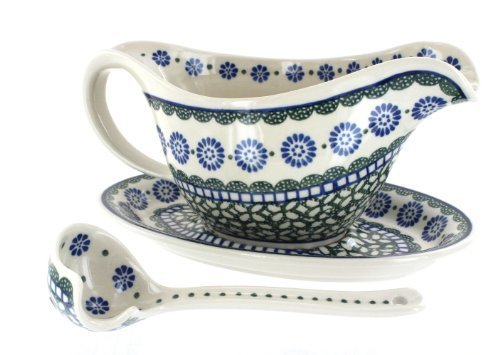 Polish Pottery Maia Gravy Boat, Plate, & Ladle by Blue Rose Pottery Blue Gravy Ladle