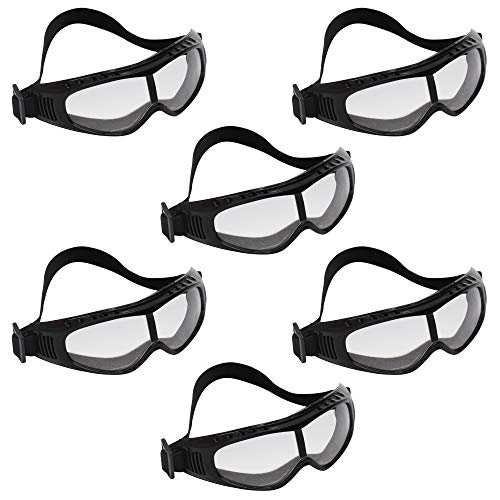Schutzbrille - 6 Packung Klare Schutzbrillen Zum Schutz der Augen mit Klaren Kunststoff-Linsen, Großes Brillen Set für das Chemie Labor, Baustellen - Bequemes Gepolstertes Design