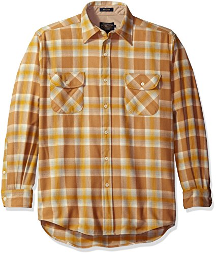 Pendleton Men's Long Sleeve Button Front Classic-Fit Maverick Merino Shirt, Maize Plaid-31915, Small (Fit Plaid Classic Shirt)