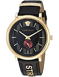 Versace Men's 'MANIFESTO EDITION' Swiss Quartz Stainless Steel and Leather Casual Watch, Color:Black (Model: VBQ050017)